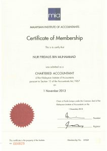 Sijil Malaysian Institute of Accountants (MIA) Millionmind Business Solutions Sdn Bhd